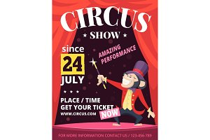 Placard of circus invitation. Vector