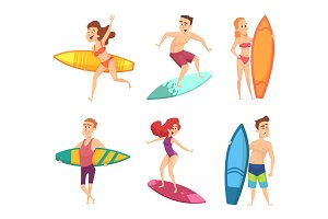 Summer surf characters. Vector funny