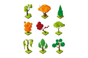 Low poly isometric trees