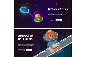 Spaceships cartoon. Vector isometric