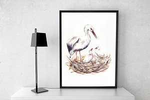 Storks Watercolor Clip Art and Print