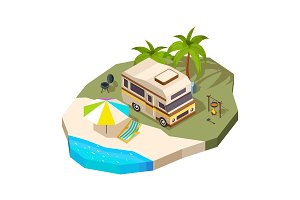Camping car at the sea. Vector