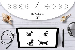 Cat icon set, simple style