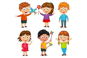 Group of happy kids cartoon