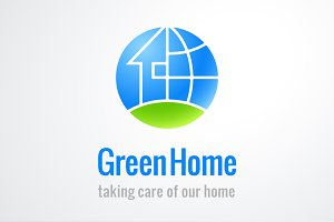Green Home Nature Logo Template