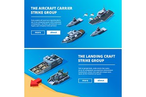 Banners with military boats. Vector