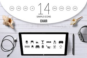Chair icon set, simple style