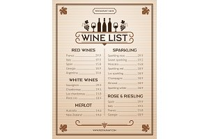 Wine menu. Design template of