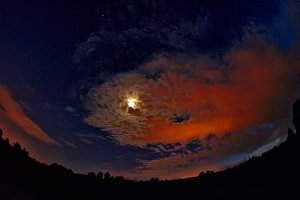 Full Moon behind red clouds