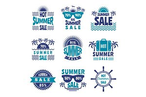 Badges of summer sale. Vector