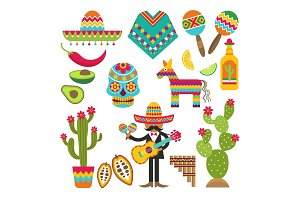 Mexican symbols. Vector design
