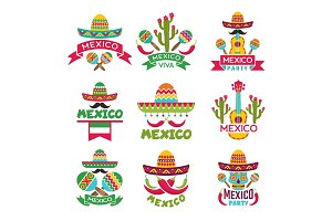 Mexican labels set. Vector colored