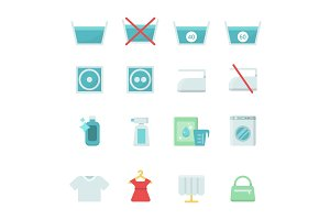 Dry cleaning symbols. Various