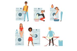 Female characters in laundry. Vector