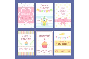 Birthday invitation cards. Vector