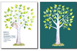 Watercolor Birch Guest Signing Tree
