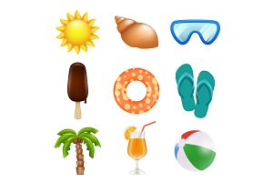 Summer realistic icons. Travel and
