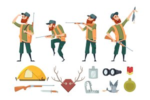Hunters equipment. Various tools for