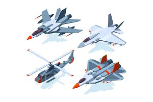 Military aircrafts isometric. 3D