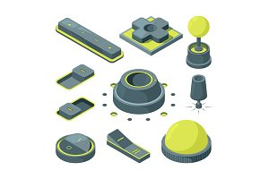 UI 3D buttons. Isometric pictures of