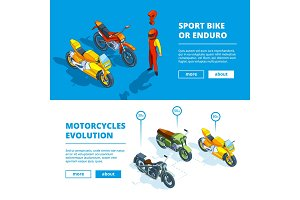 Motorcycles banners. Vector template