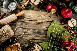 Apple pie baking background