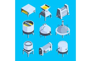 Brewery isometric. Vector plant for