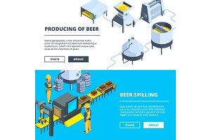 Brewery banners. Vector isometric