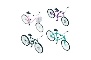 Isometric bikes. Vector 3d pictures