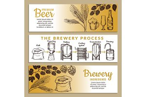 Banners set of brewery. Illustration