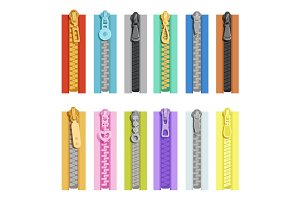Colored zippers. Tools for clothes