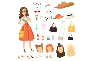 Clothing of fashionable girl