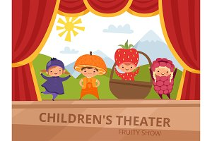 Children on stage. Kids in fruit