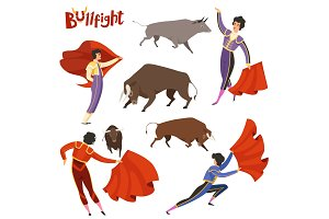 Bullfighting characters. Vector