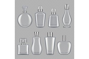 Perfumes bottles. Realistic pictures