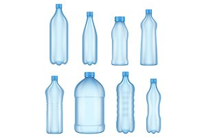 Plastic bottles for water. Realistic