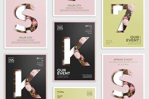 5 Floral Poster Flyer Pack
