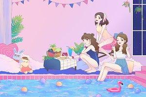 3 cartoon girls pool party illust