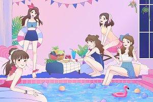 5 cartoon girls pool party illust