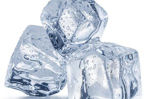 Melting ice cubes with water drops.