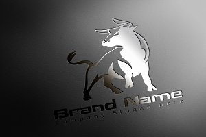 Modern Bull Logo - Mock-Up & Vector
