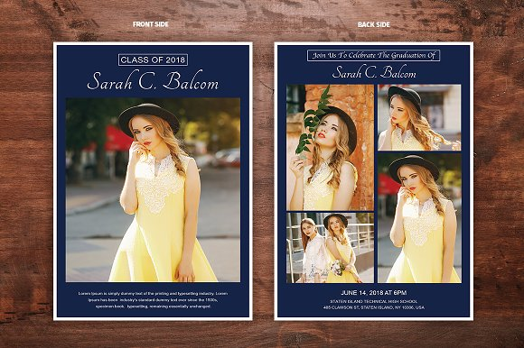 graduation announcement template v02 flyer templates creative market