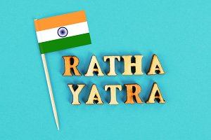 Flag of India and the text of Ratha