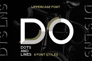 Dots Lines. Display font, 8 styles.