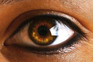 Female human green brown brown eye w