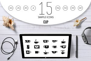 Cup icon set, simple style