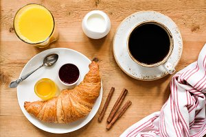 Top view of tasty breakfast