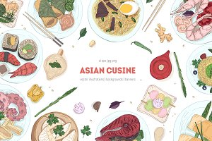 Dishes of Asian cuisine