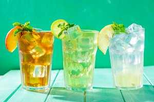 Summer drinks - selection of iced