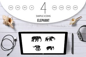 Elephant icon set, simple style